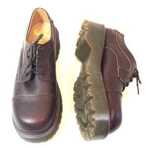 Dr Martens Vintage Brown Leather Platform Oxfords